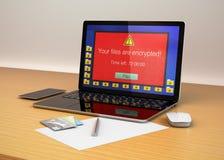 Écran derrière alerte d'ordinateur portable prouvant que l'ordinateur a été attaqué par le ransomware Image libre de droits