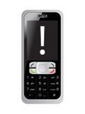 écran du téléphone portable s de repère d'exclamation Photos libres de droits