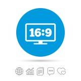 Écran géant TV de 16:9 d'allongement Surveillez le symbole Photographie stock libre de droits