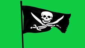 Écran graphique de vert d'élément de Roger de pirate de drapeau gai de bateau clips vidéos