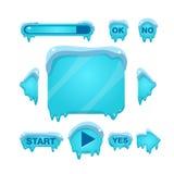 Écran instantané et boutons de jeu couverts de la glace illustration stock