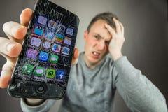 Écran Iphone criqué photographie stock libre de droits