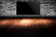 Écran noir de l'affichage à cristaux liquides TV Photos libres de droits