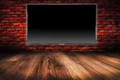 Écran noir de l'affichage à cristaux liquides TV Image libre de droits