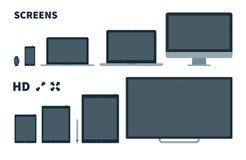 Écran plat de TV, téléphone, moniteur, ordinateur portable, comprimé et Photographie stock
