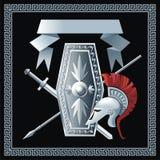 Écran protecteur, épée, casque et lance Image stock
