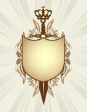 Écran protecteur, épée et tête Image stock