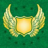 Écran protecteur d'or avec le fond grunge vert Images stock