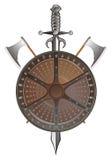 Écran protecteur de bataille avec les haches et l'épée Images stock