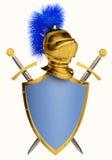 Écran protecteur et épées Images stock