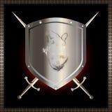 Écran protecteur et épées. Photos stock