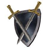 Écran protecteur et épées. Images libres de droits