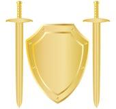 Écran protecteur et deux épées Photographie stock