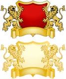 Écran protecteur et drapeau avec des lions Photos libres de droits