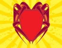 Écran protecteur rouge sur le backgroun jaune Image libre de droits