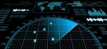Écran radar avec l'interface utilisateurs futuriste HUD illustration de vecteur