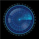 Écran radar bleu de Digital sur le fond noir Photos libres de droits