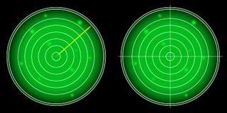 Écran radar rougeoyant avec le vecteur lumineux de cibles Image libre de droits