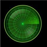 Écran radar vert sur le fond noir Photos stock