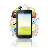 Smartphone, cercado por ícones de Apps dos meios. Vetor Foto de Stock Royalty Free