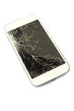 Écran tactile cassé par plan rapproché du téléphone intelligent blanc Photographie stock libre de droits