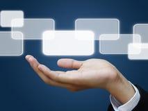 Écran tactile de fixation de main d'affaires images stock