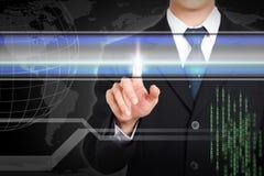 Écran tactile de main d'homme d'affaires par concept pour le texte témoin Images stock