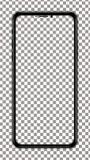 Écran transparent de vecteur noir de smartphone Image stock