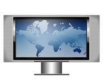 Écran TV de plasma avec la carte Image libre de droits