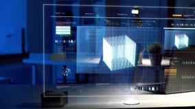 Écran virtuel avec la projection 3d au bureau de nuit banque de vidéos