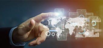 Écrans d'interface utilisateurs de participation d'homme d'affaires avec le rendu d'icône, de stat et de données 3d images libres de droits