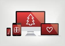 Écrans d'ordinateur modernes, carnet, téléphone, affichages d'ordinateur portable - rouge Image stock