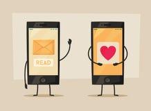 Écrans de smartphone Affichage avec le message et le coeur Illustration de dessin animé de vecteur Image libre de droits
