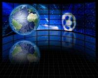 Écrans et terre binaire Photos libres de droits