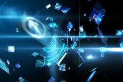 Écrans numériques de flottement dans le bleu Photo libre de droits