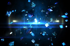 Écrans numériques de flottement dans le bleu Photographie stock
