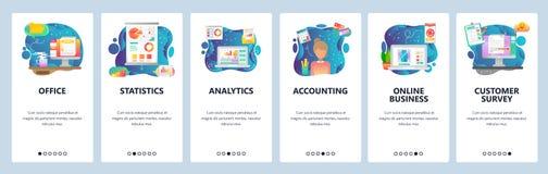 Écrans onboarding d'appli mobile Analytics financier d'affaires, bureau, comptabilité et affaires en ligne Vecteur de menu illustration libre de droits