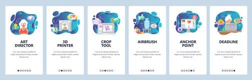 Écrans onboarding d'appli mobile 3d imprimante, aerographe, peinture, illustration numérique, date-butoir de projet Vecteur de me illustration libre de droits