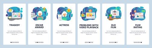 Écrans onboarding d'appli mobile Vidéo, cinéma et actrice coulants en ligne de film Calibre de bannière de vecteur de menu pour l illustration de vecteur
