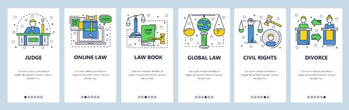Écrans onboarding de site Web Cour et système judiciaire, droits civiques, droit de la famille, droit international Bannière de v illustration de vecteur