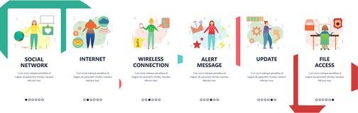 Écrans onboarding de site Web Réseau social, connexion internet sans fil, accès de dossier et mise à jour Bannière de vecteur de  illustration de vecteur