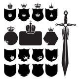 Écrans protecteurs et épée Images stock