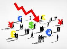 Écrasement du monde et récession financiers de devises Photographie stock libre de droits