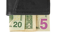 2015 écrit avec des billets d'un dollar dans un portefeuille Images stock