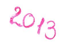 2013 écrit avec le rouge à lèvres Image libre de droits