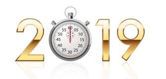 2019 écrit dans des chiffres d'or avec un chronomètre au lieu de zéro illustration libre de droits
