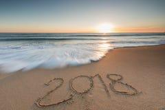 2018 écrit dans le sable Image libre de droits