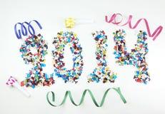 2014 écrit par des confettis Photographie stock