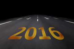 2016 écrit sur l'asphalte Photographie stock