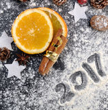 2017 écrit sur la farine Photo stock
